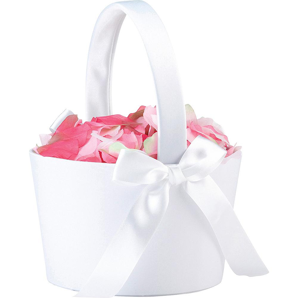 White Flower Girl Basket Image #2