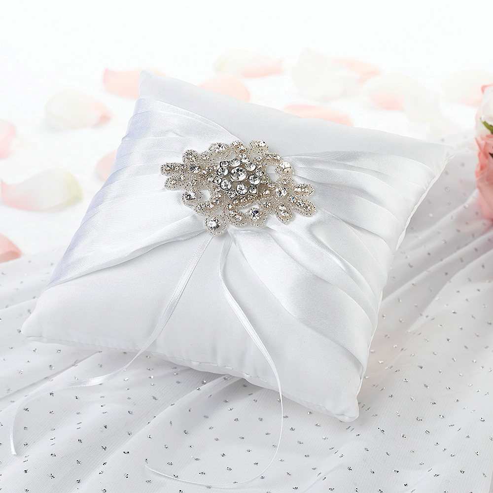 White Gemstone Ring Bearer Pillow 7 1 2in X 7 1 2in Party City