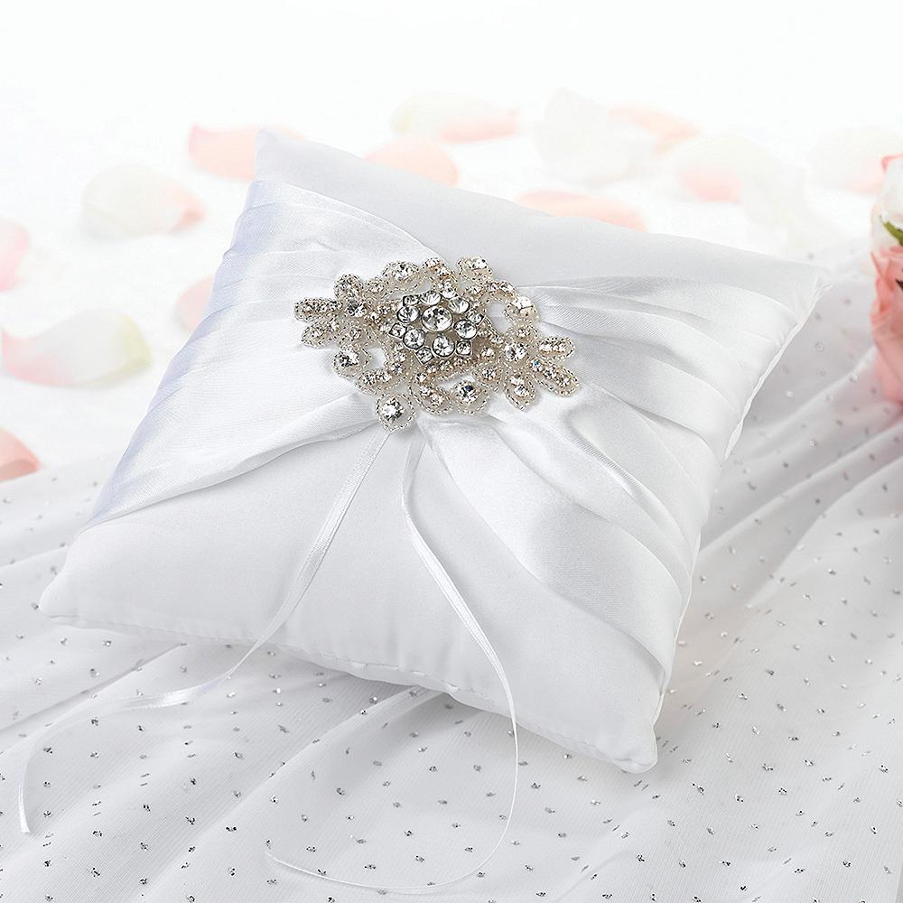 White Gemstone Ring Bearer Pillow Image #1