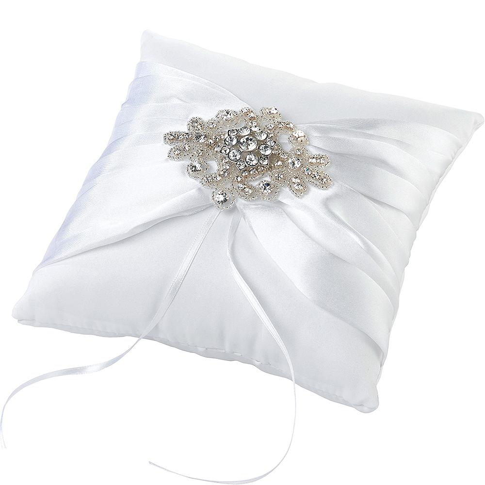 White Gemstone Ring Bearer Pillow Image #2