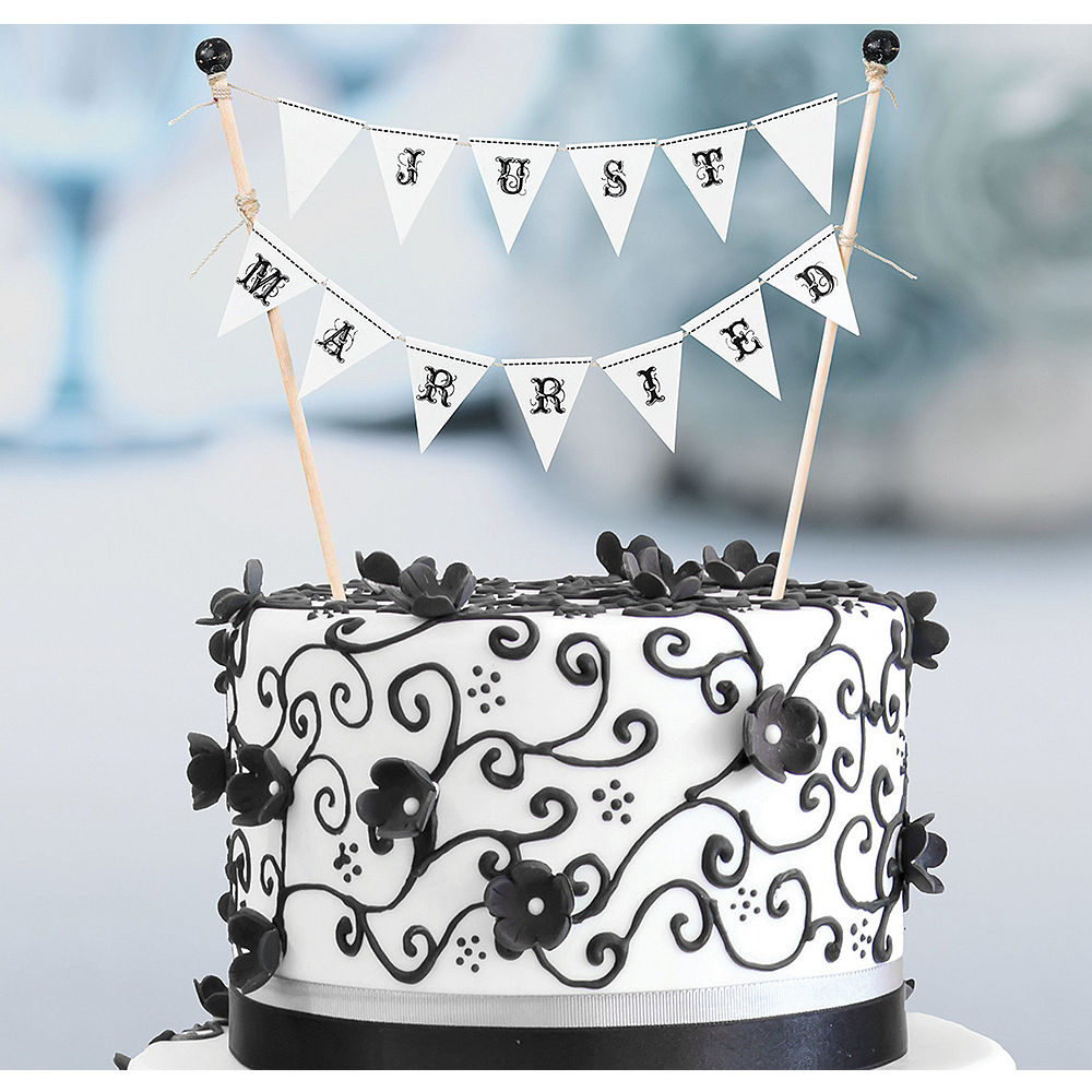 Terrific Just Married Cake Bunting 7In X 7In Party City Personalised Birthday Cards Paralily Jamesorg