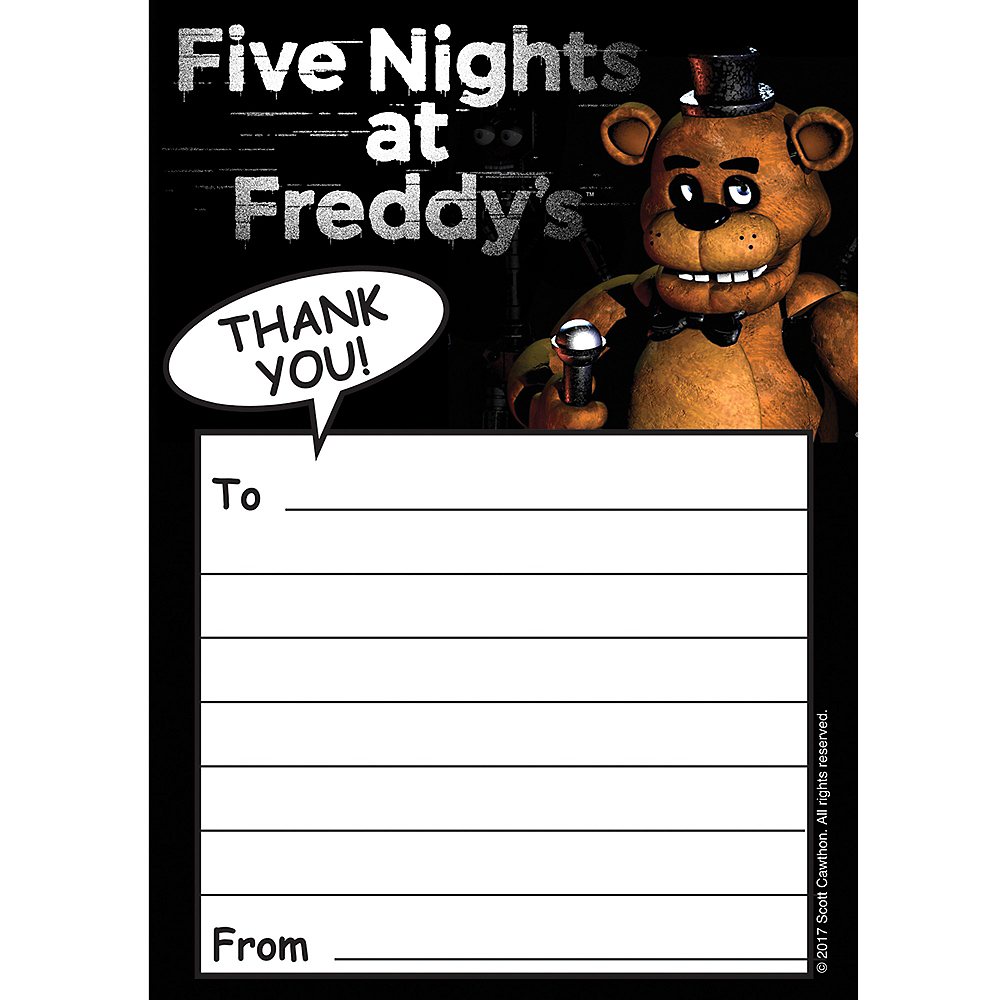 Five Nights at Freddy\'s Thank You Notes 8ct | Party City