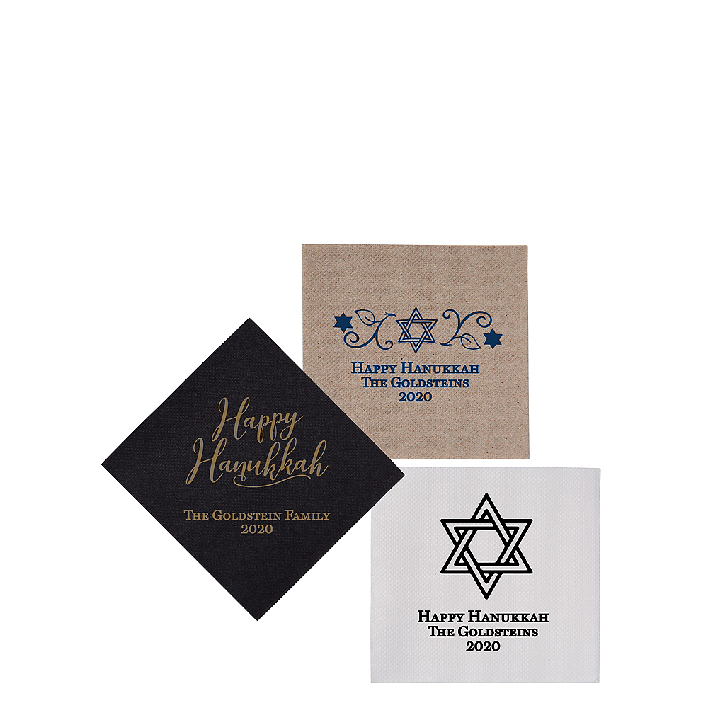Nav Item for Personalized Hanukkah Petite Beverage Napkins Image #1