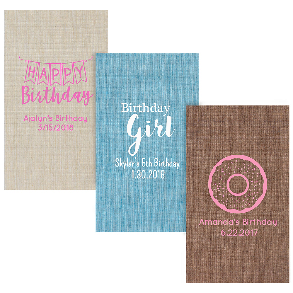 Personalized Girls Birthday Bella Guest Towels Image #1