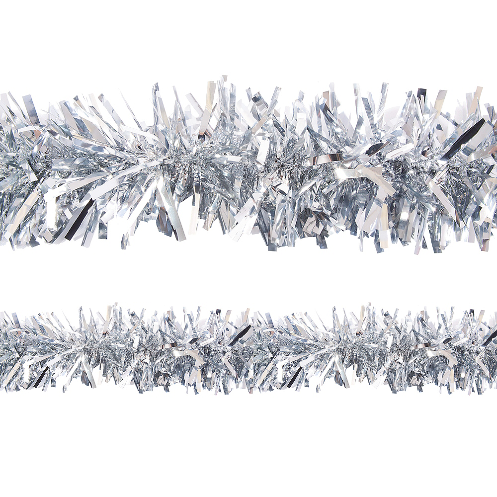 Nav Item for Metallic Silver Twisted Tinsel Garland Image #1