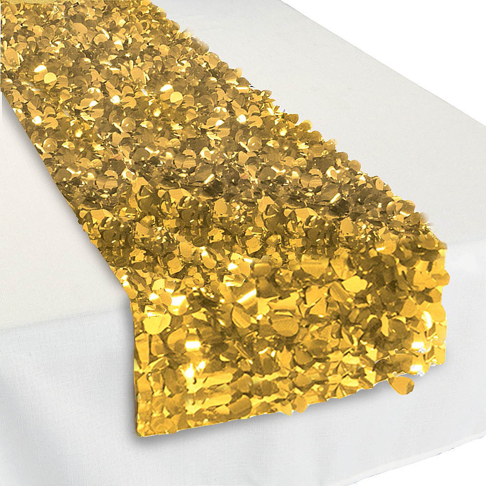 Metallic Gold Floral Table Runner Image #1