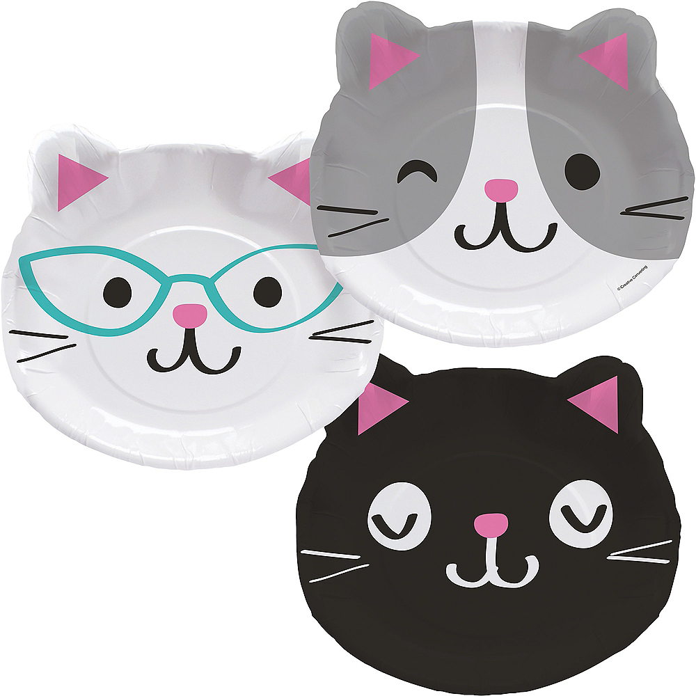 Purrfect Cat Face Lunch Plates 8ct Image #1