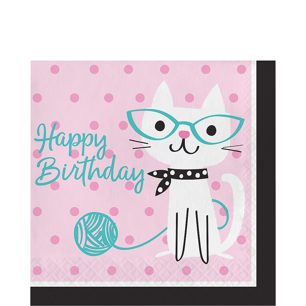 Purrfect Cat Birthday Lunch Napkins 16ct Image #1
