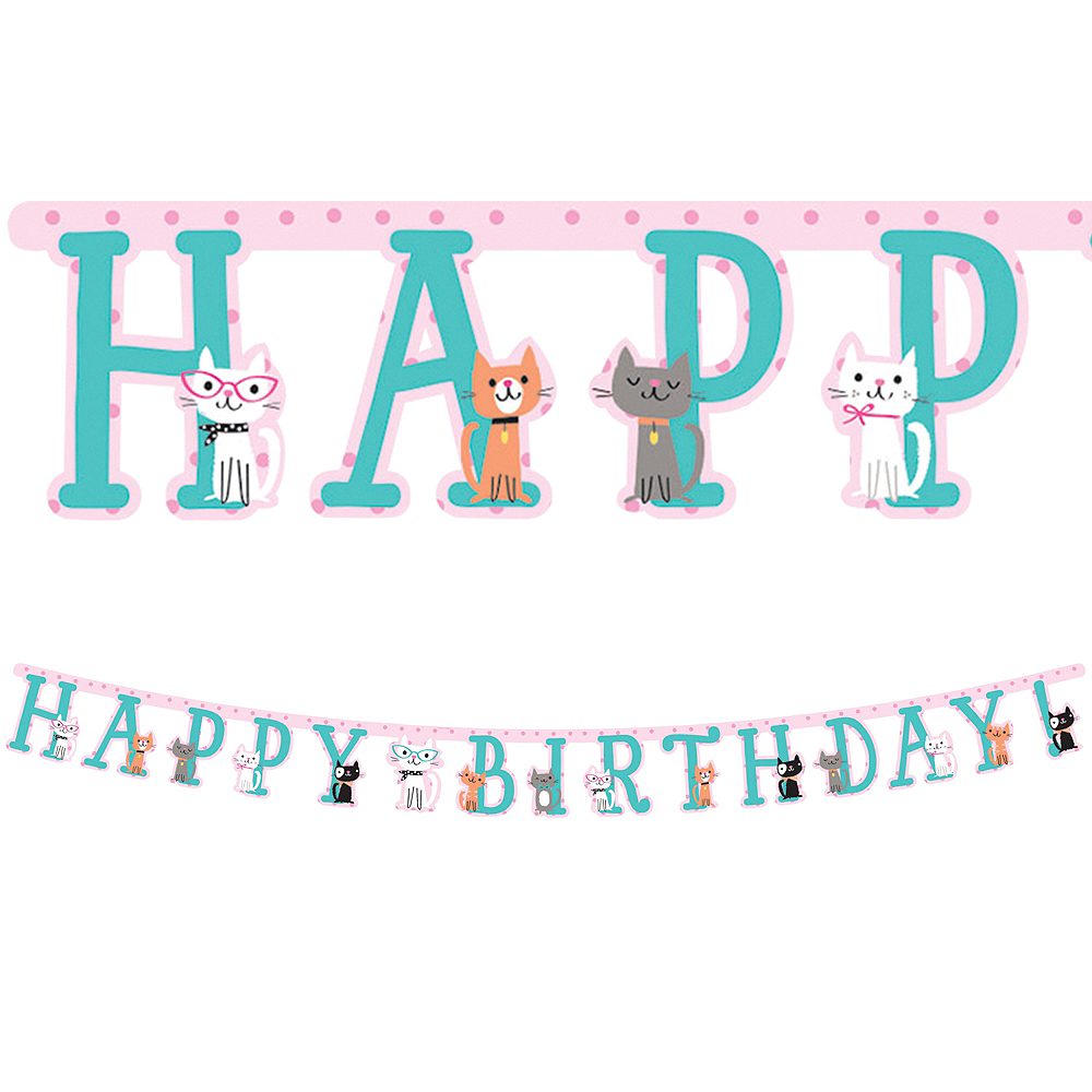 Cat Birthday Banner: Purrfect Cat Birthday Banner 10ft X 7in