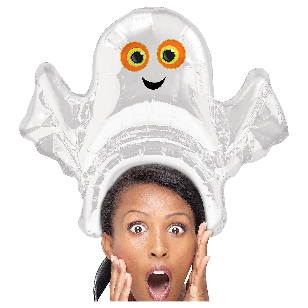 Air-Filled Ghost Balloon Hat Image #1