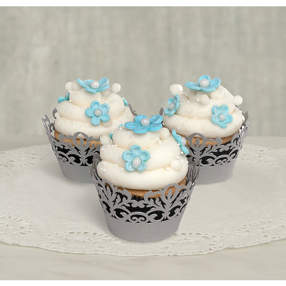 Silver Damask Baking Cups 25ct Image #1
