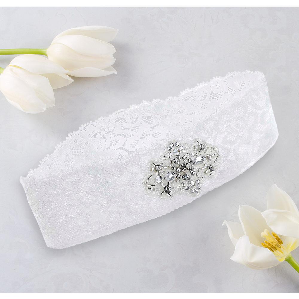 White Wedding Garter: White Lace Wedding Garter 5in
