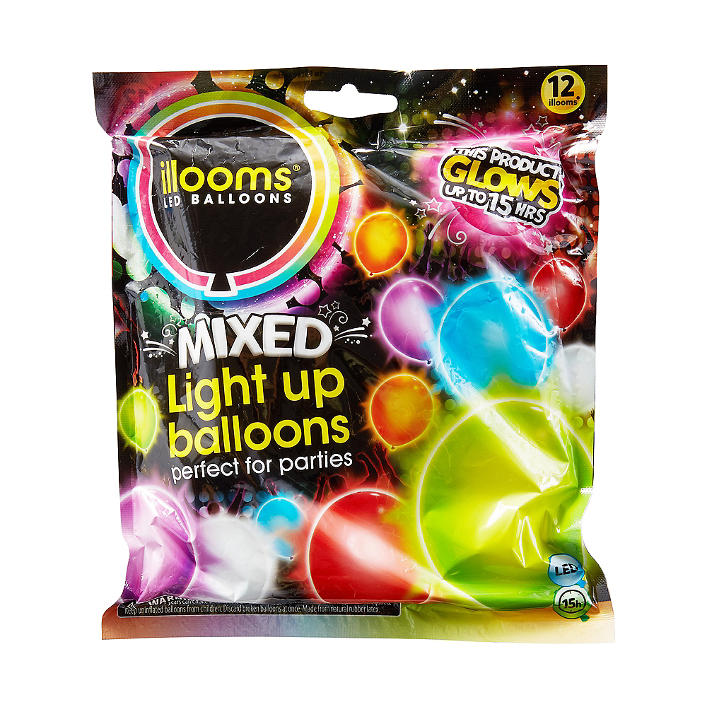 Illooms Light-Up Assorted Color LED Balloons 12ct, 9in Image #1