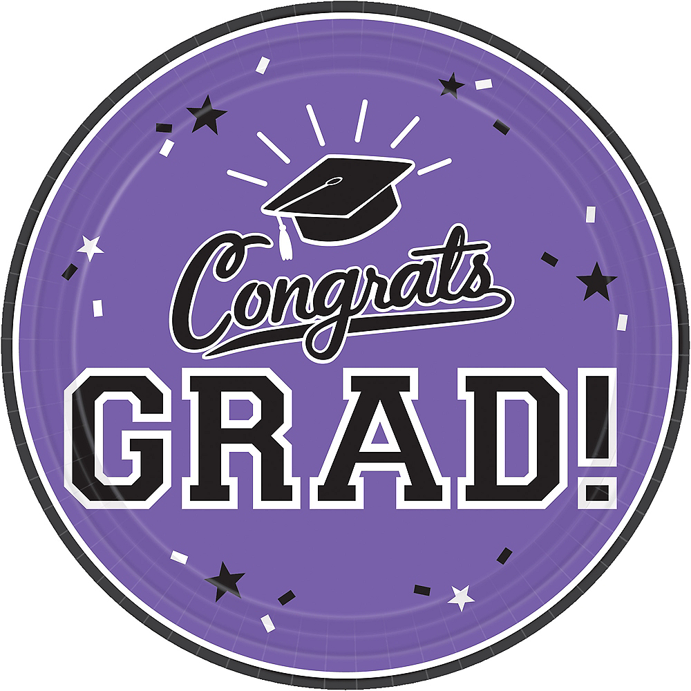Purple Congrats Grad Lunch Plates 18ct Image #1