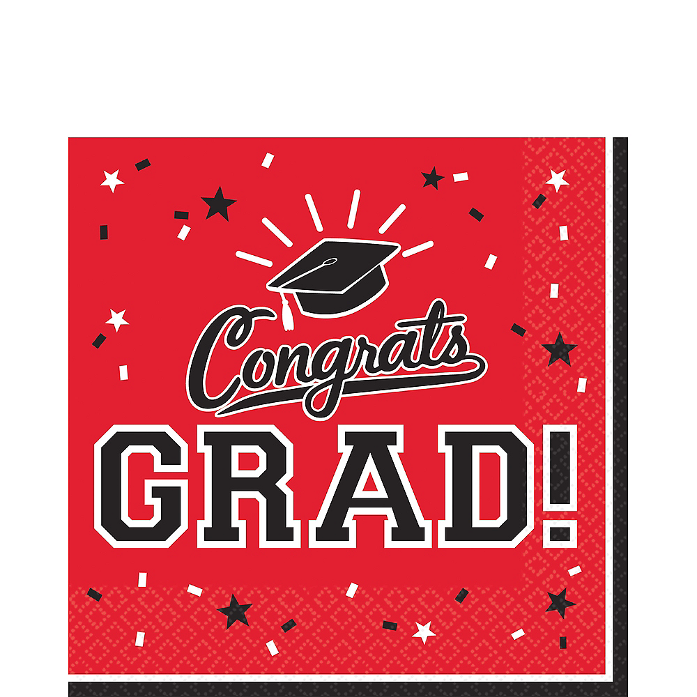 Red Congrats Grad Lunch Napkins 36ct Image #1