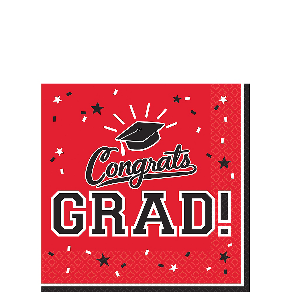Nav Item for Red Congrats Grad Beverage Napkins 36ct Image #1