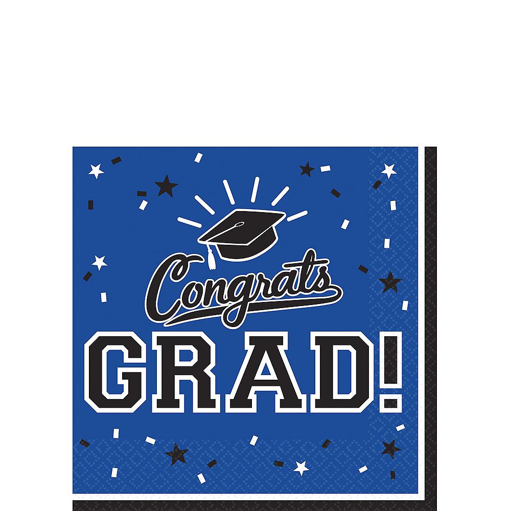 Blue Congrats Grad Beverage Napkins 36ct Image #1