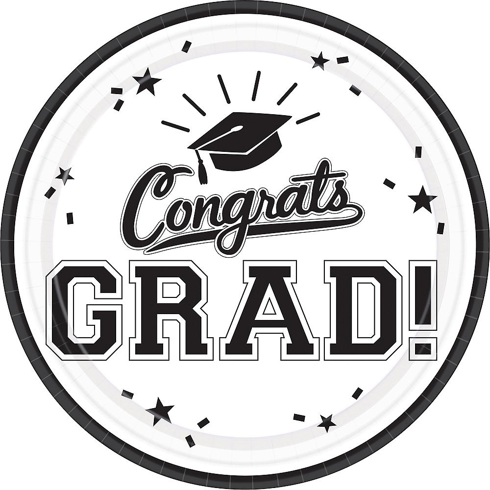 White Congrats Grad Lunch Plates 18ct Image #1