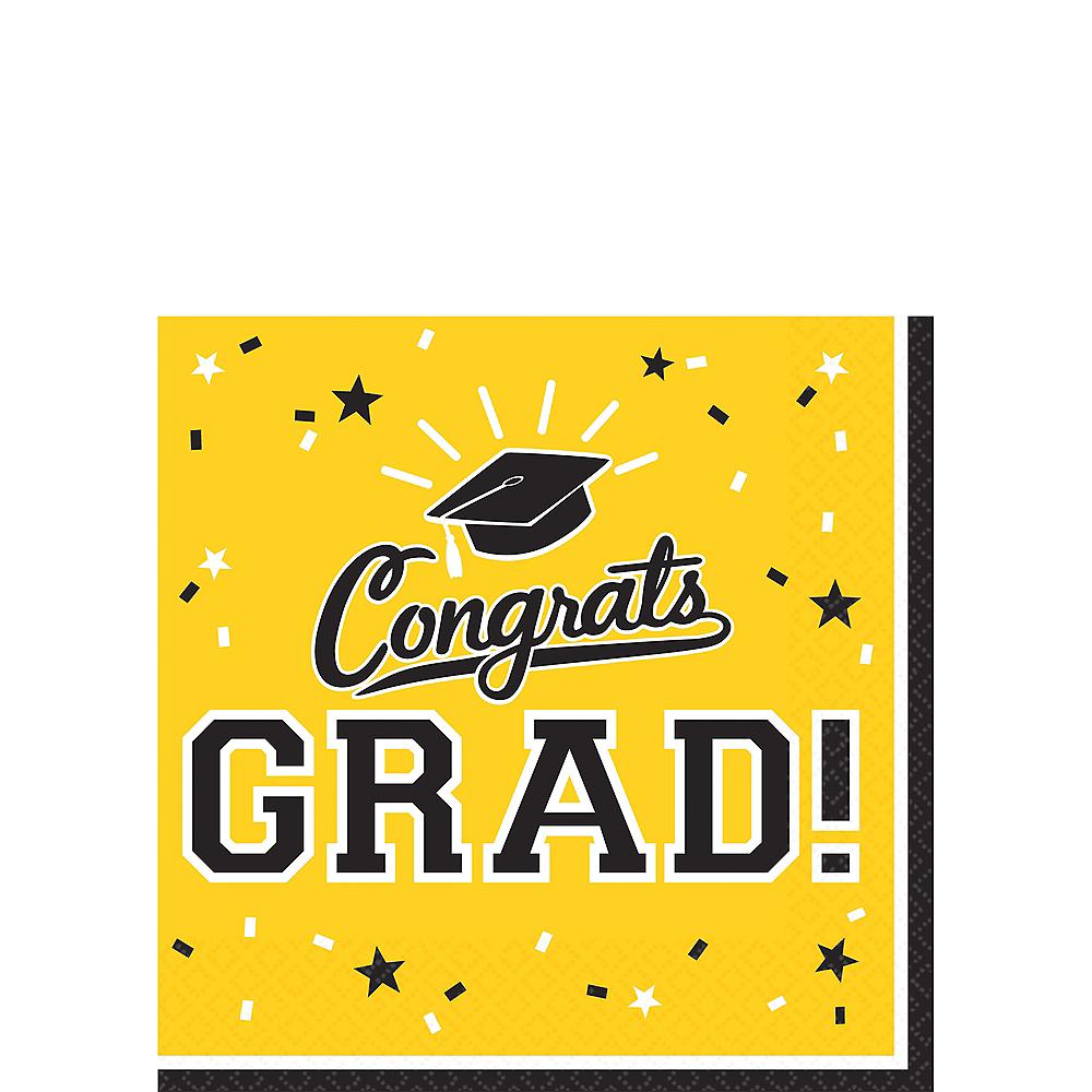 Yellow Congrats Grad Beverage Napkins 36ct Image #1