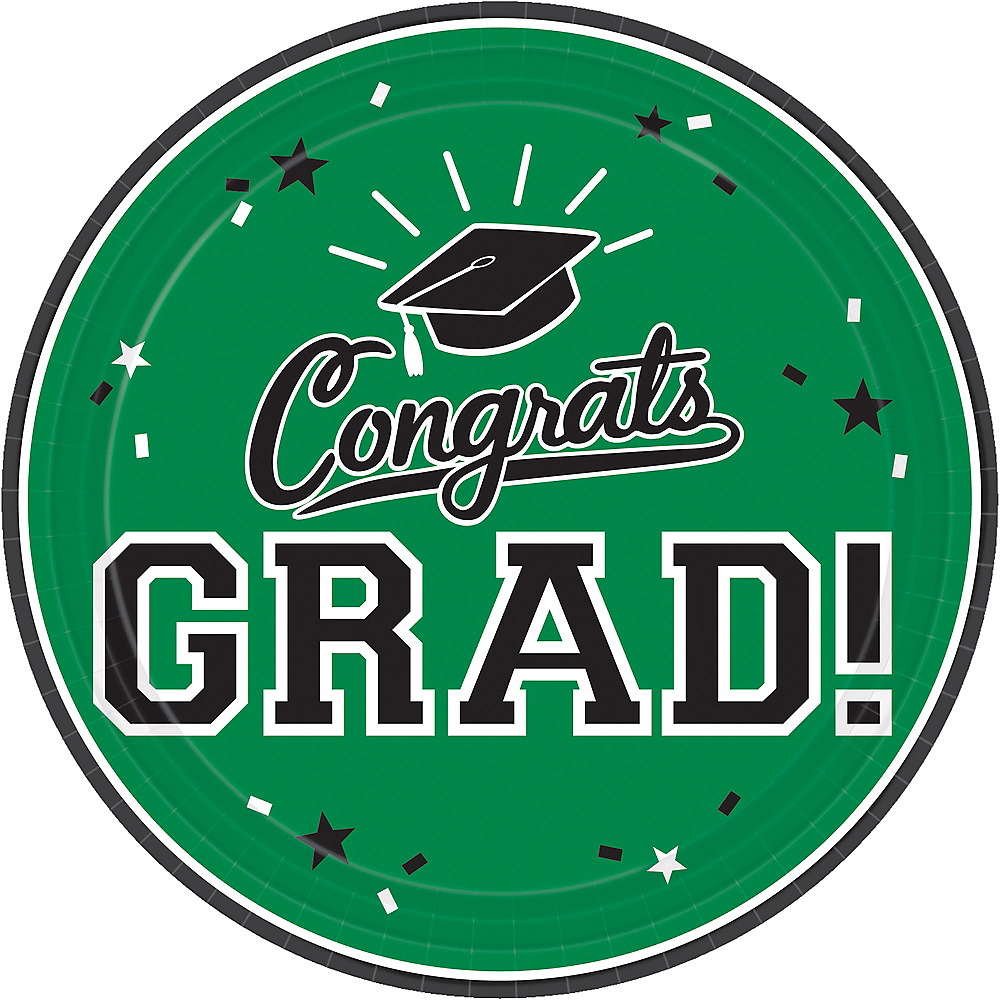 Nav Item for Green Congrats Grad Lunch Plates 18ct Image #1