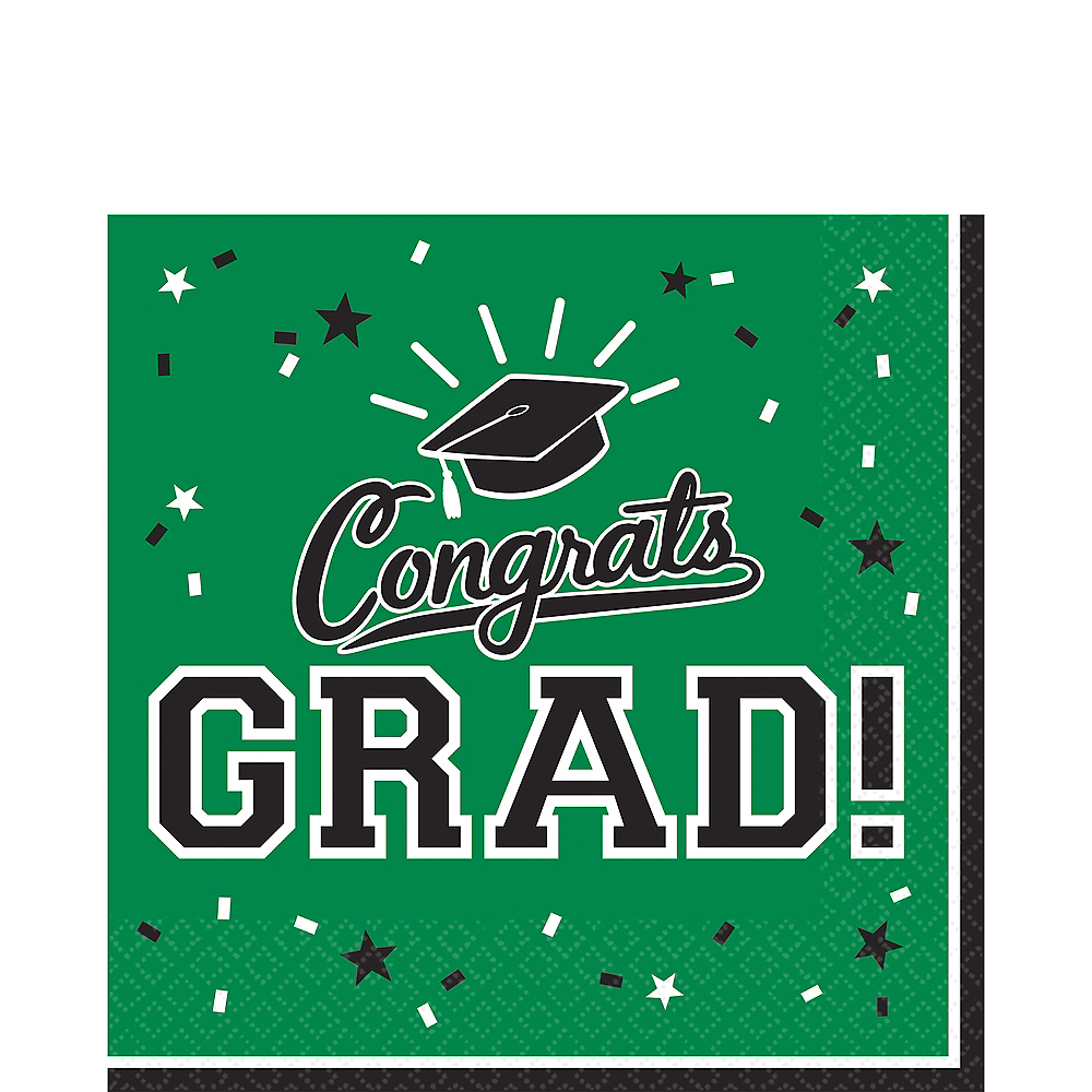 Green Congrats Grad Lunch Napkins 36ct Image #1