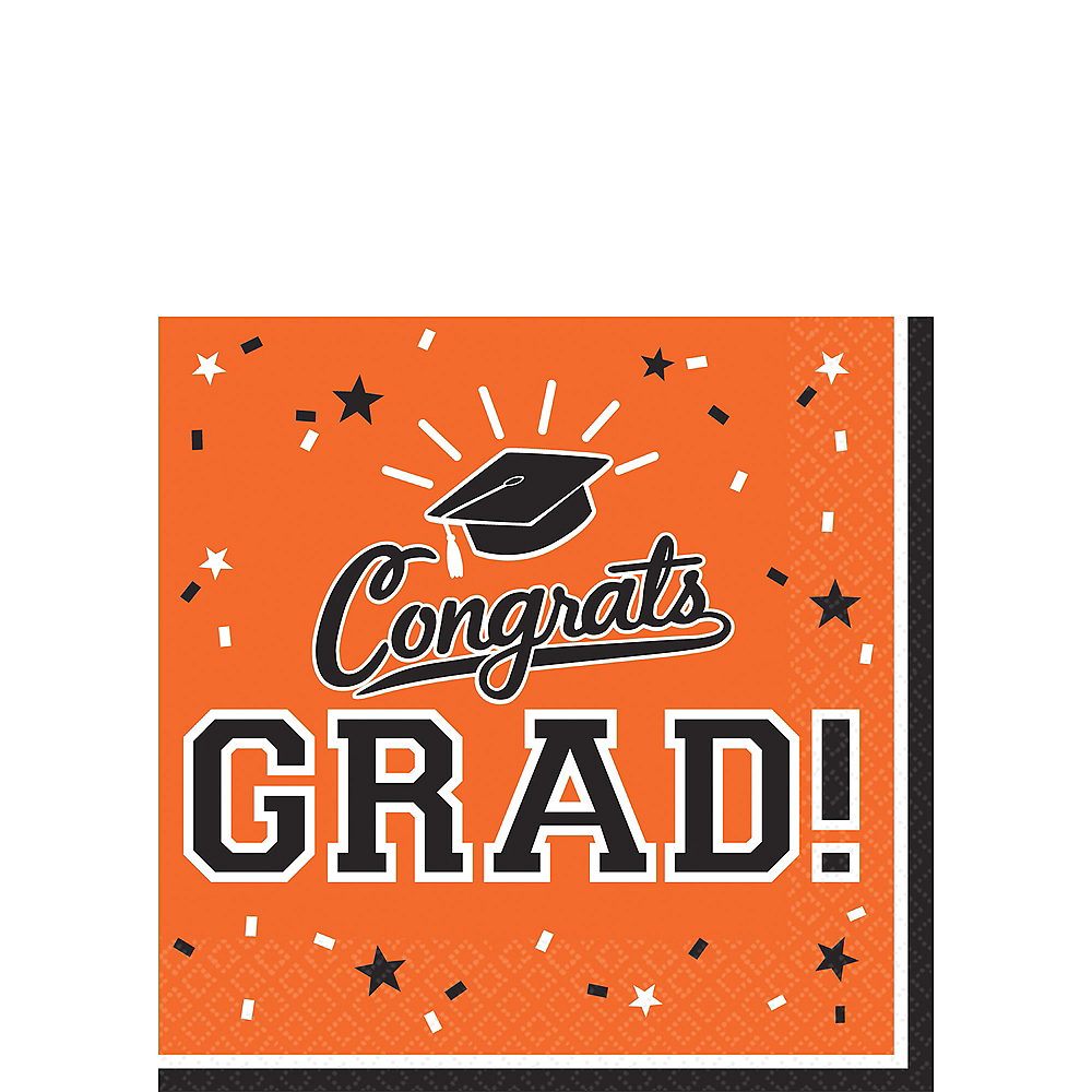Orange Congrats Grad Beverage Napkins 36ct Image #1
