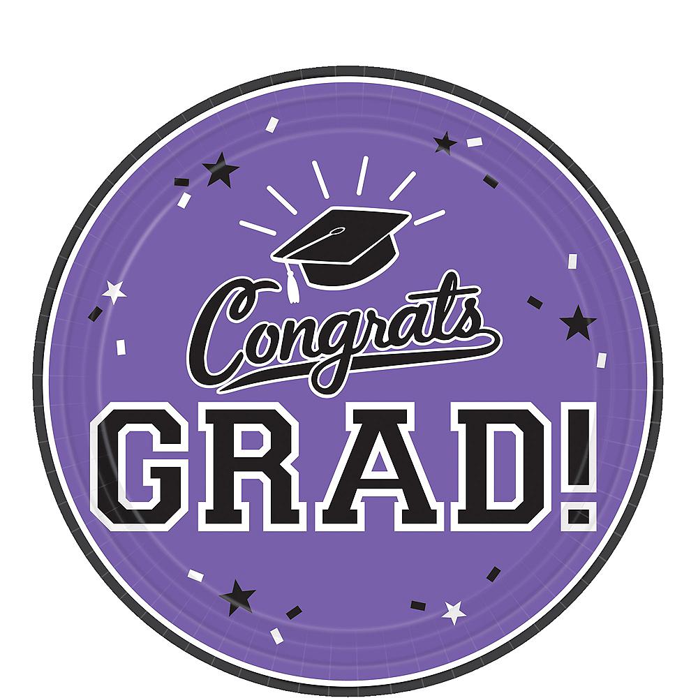 Purple Congrats Grad Dessert Plates 18ct Image #1