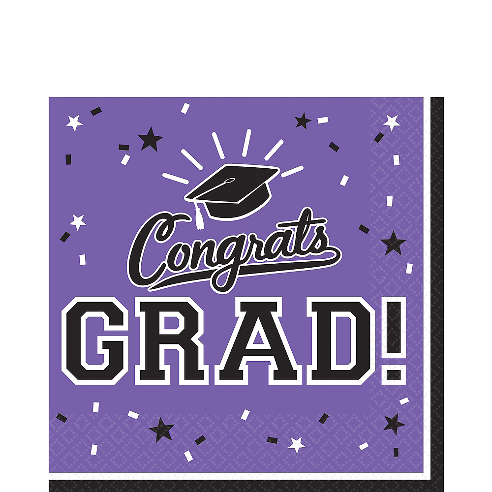 Nav Item for Purple Congrats Grad Lunch Napkins 36ct Image #1