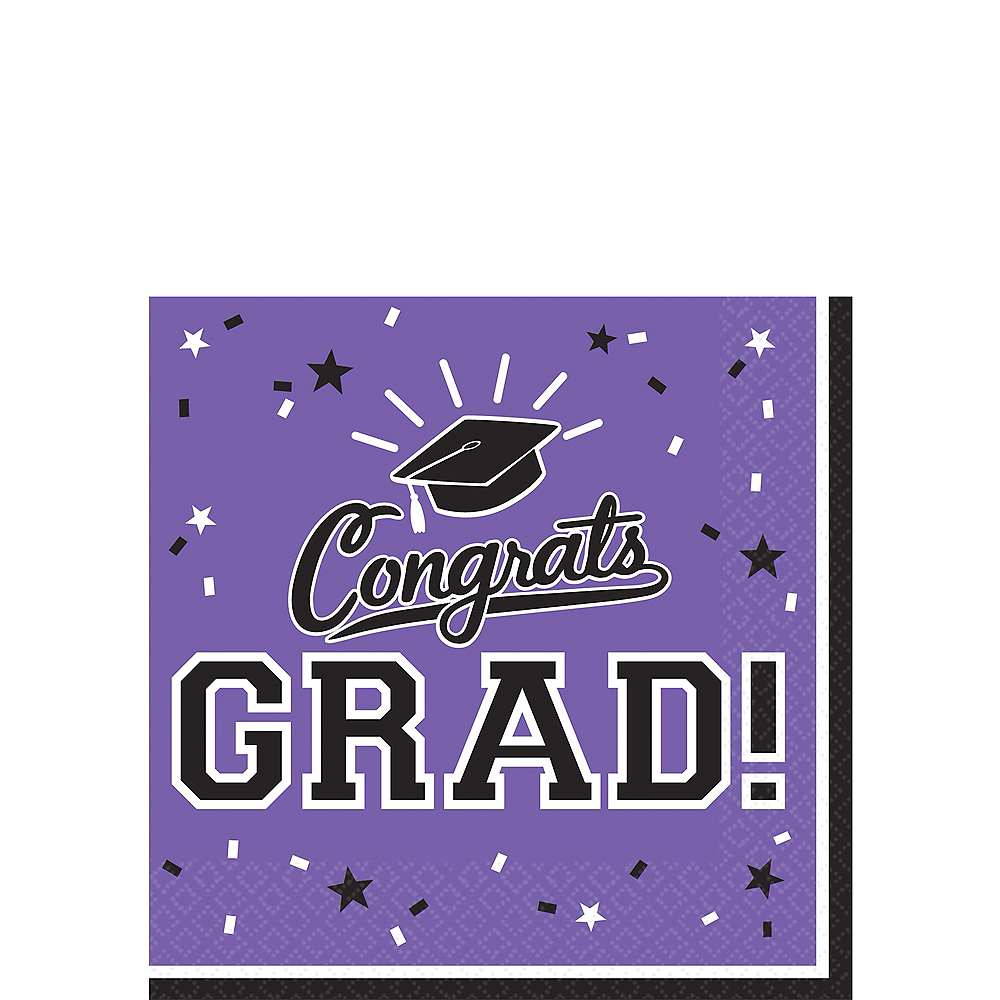 Purple Congrats Grad Beverage Napkins 36ct Image #1