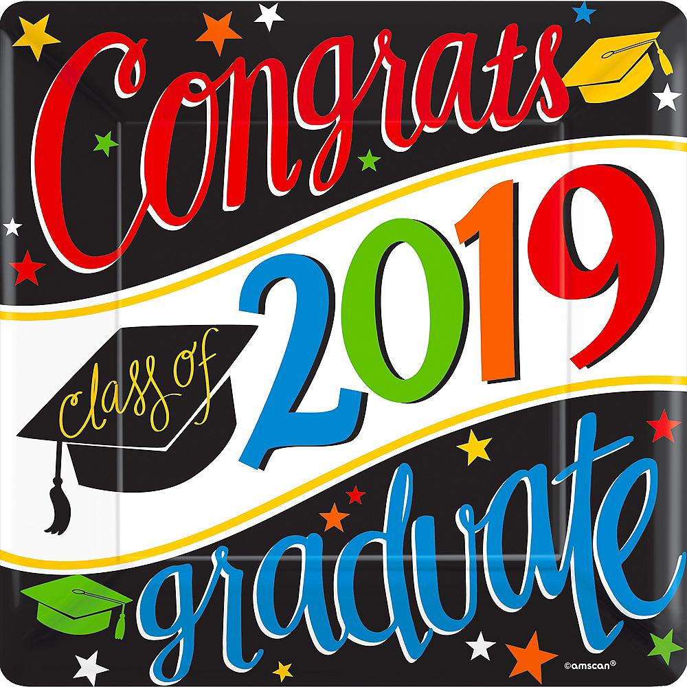 Colorful Congrats Graduate Dinner Plates 18ct Image #1