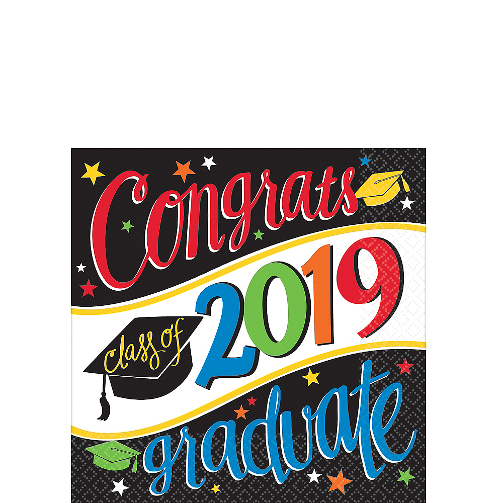 Colorful Congrats Graduate Beverage Napkins 36ct Image #1