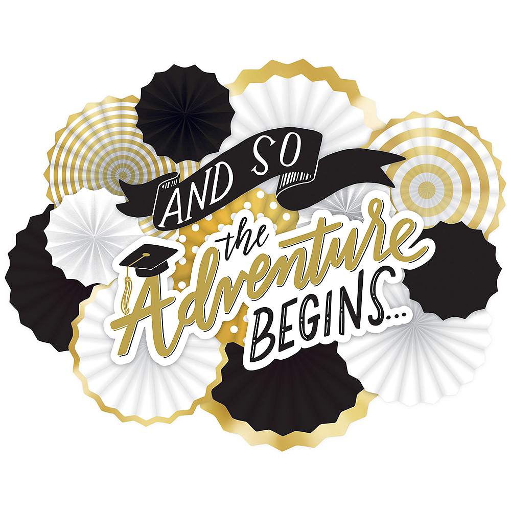 The Adventure Begins Paper Fan Decorating Kit 14pc Image #1