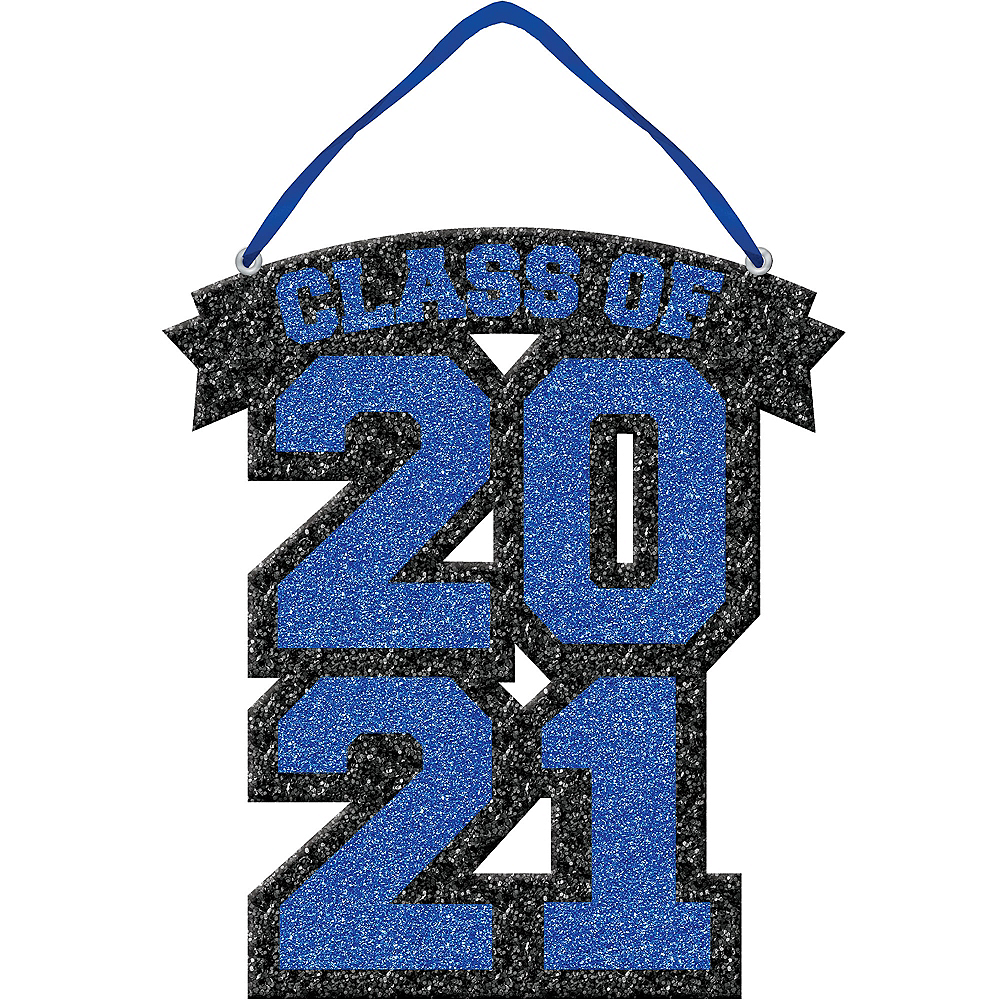 Glitter Blue Class of 2019 Graduation Sign Image #1