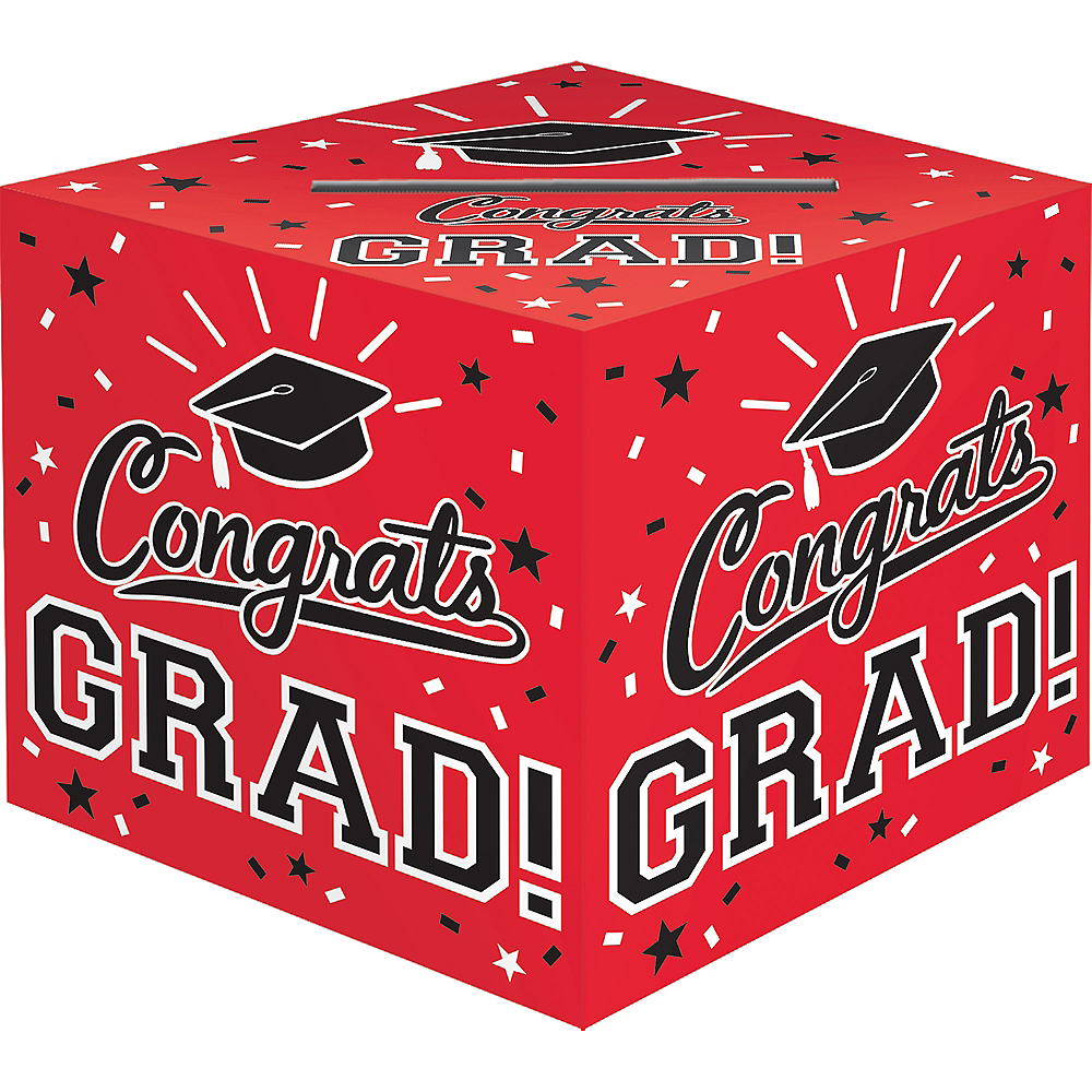 Red Congrats Grad Card Holder Box Image #1
