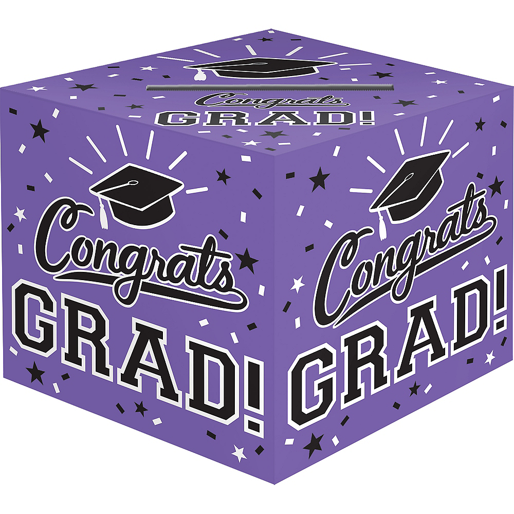 Purple Congrats Grad Card Holder Box Image #1
