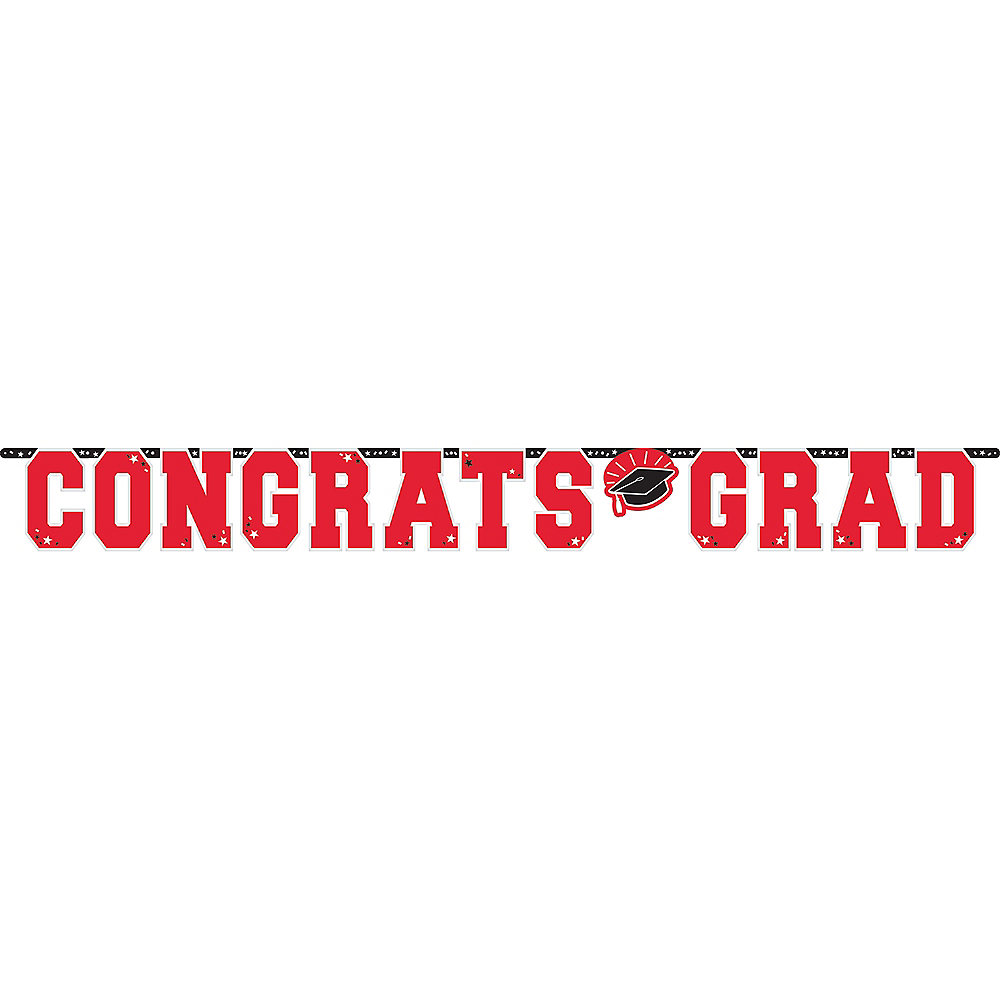 Giant Red Congrats Grad Letter Banner Image #1