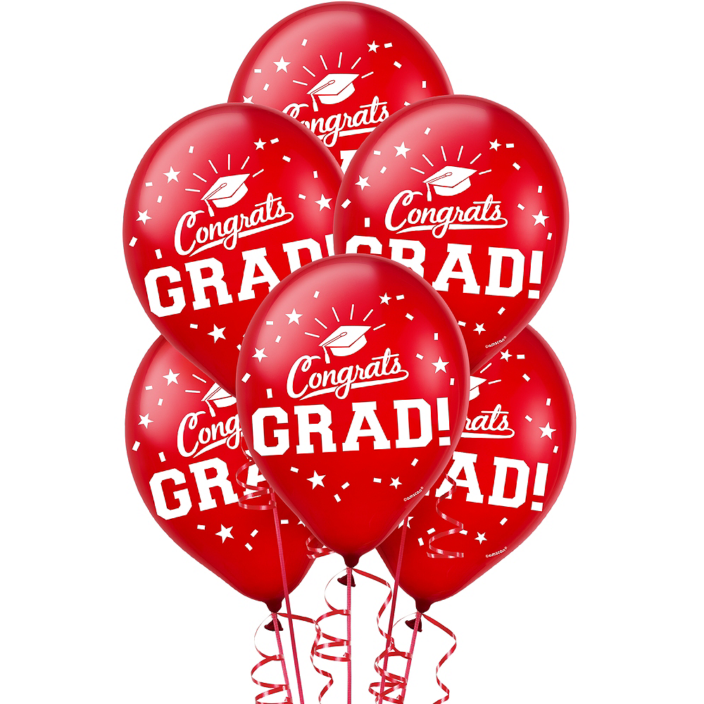 Red Congrats Grad Balloons 15ct Image #1