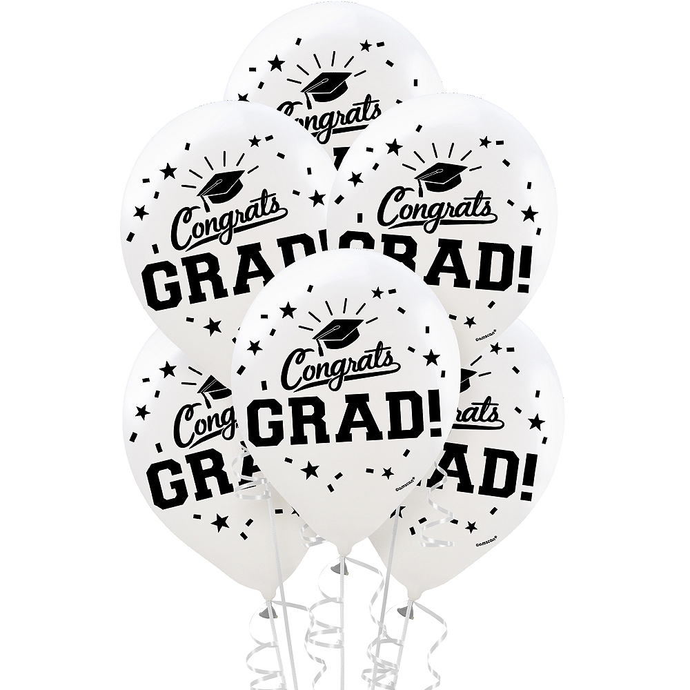 Nav Item for White Congrats Grad Balloons 15ct Image #1
