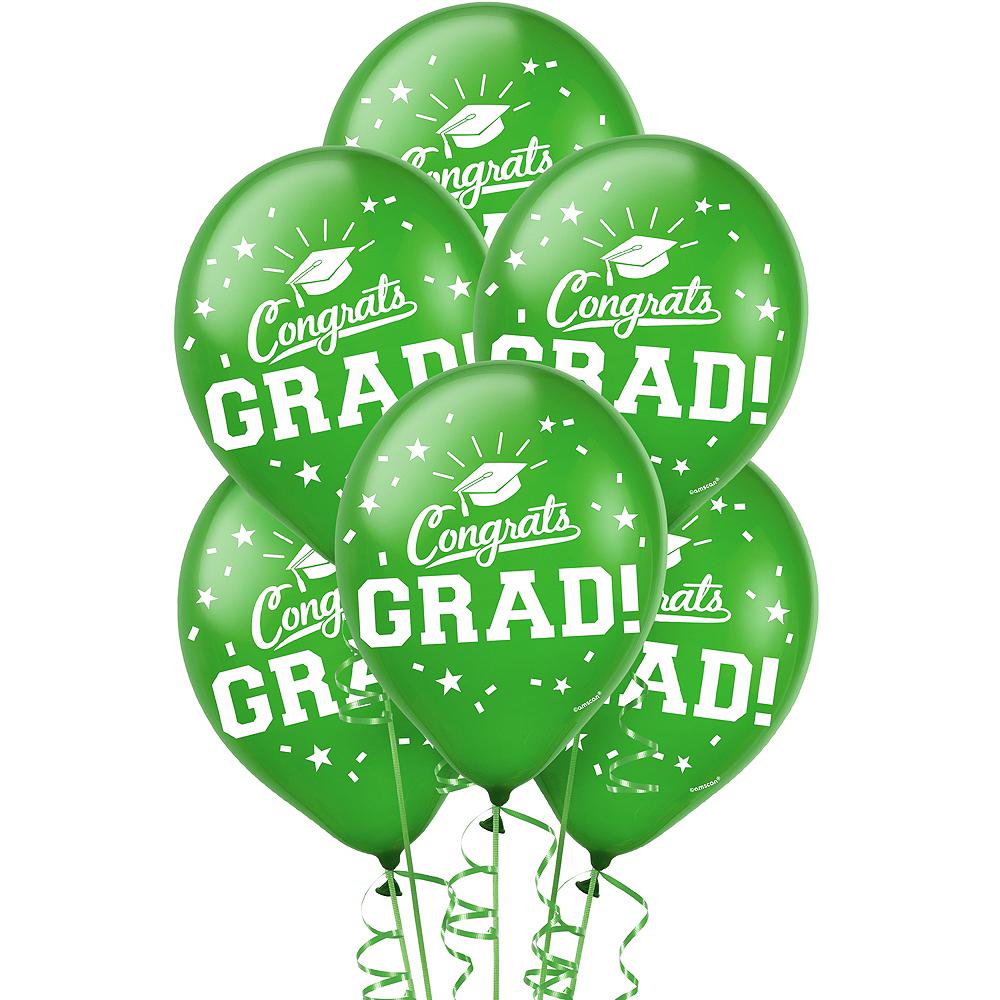 Green Congrats Grad Balloons 15ct Image #1