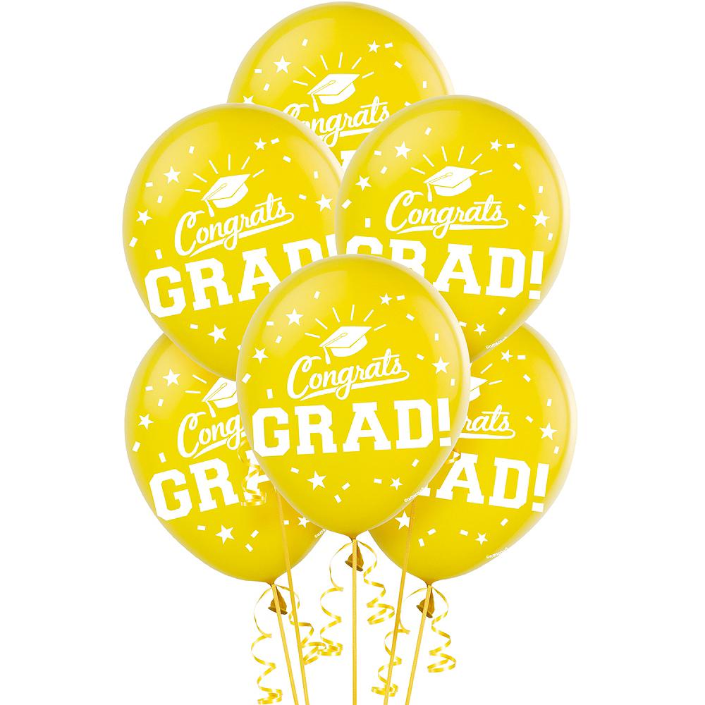 Yellow Congrats Grad Balloons 15ct Image #1