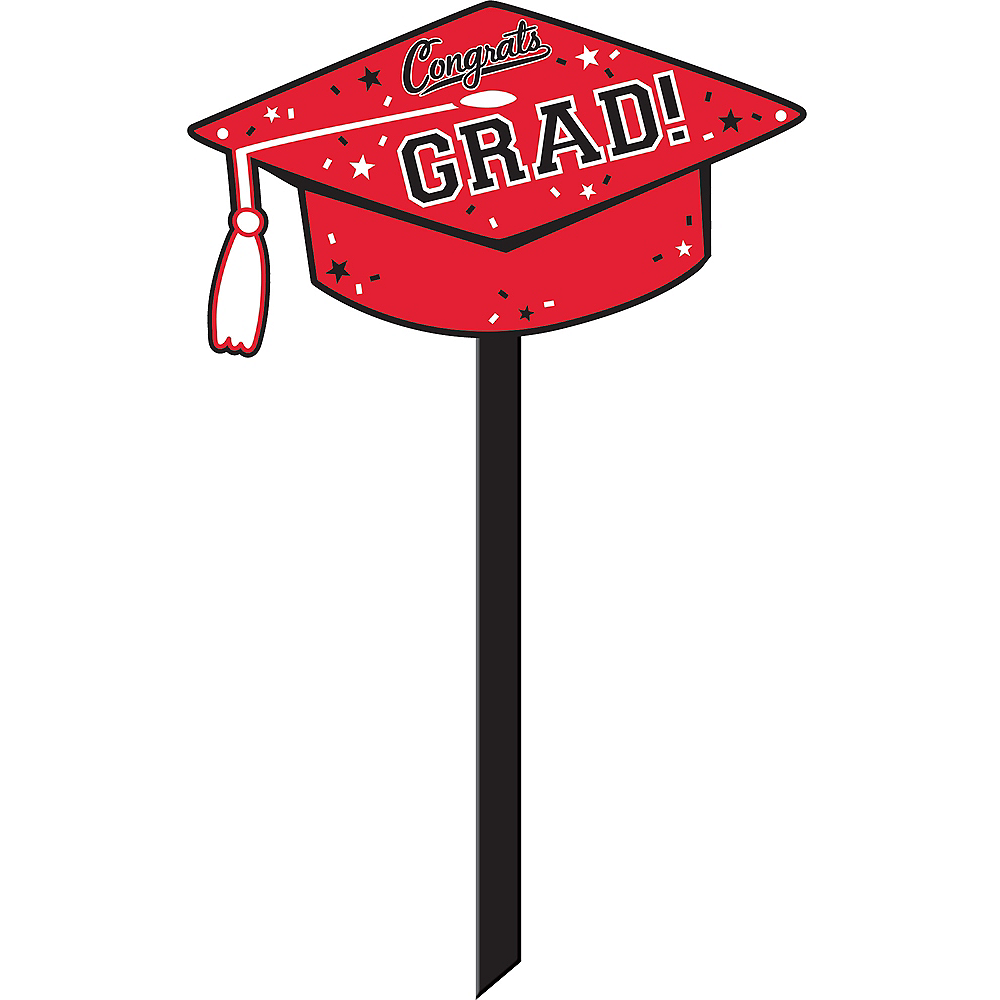Red Congrats Grad Yard Sign Image #1