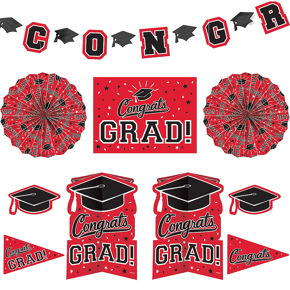Red Graduation Room Decorating Kit 10pc Image #1