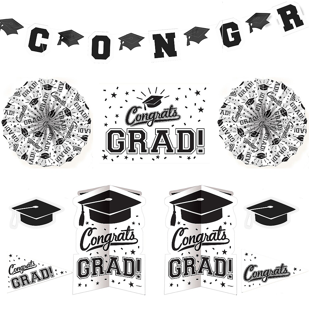White Graduation Room Decorating Kit 10pc Image #1