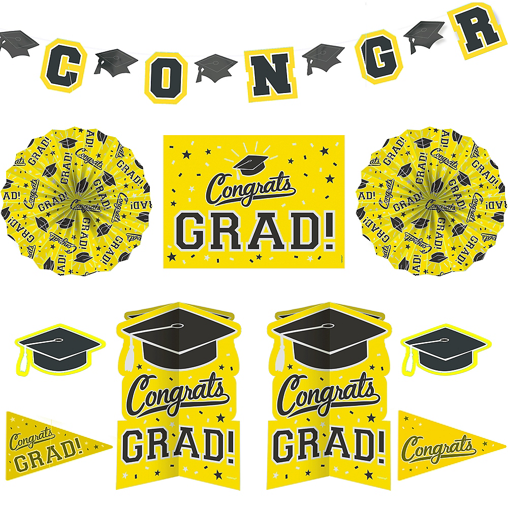Yellow Graduation Room Decorating Kit 10pc Image #1