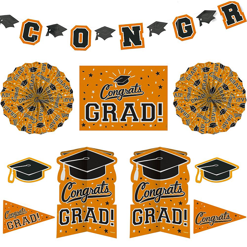 Orange Graduation Room Decorating Kit 10pc Image #1