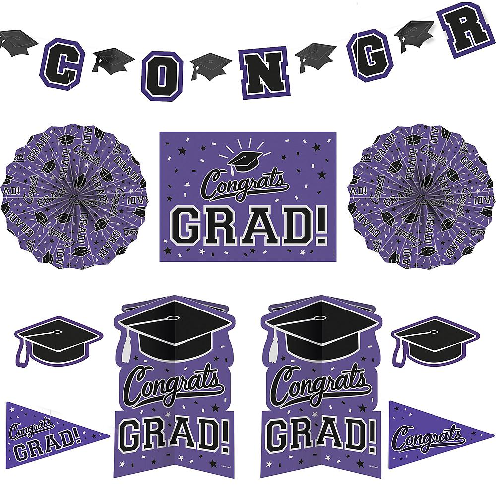 Purple Graduation Room Decorating Kit 10pc Image #1