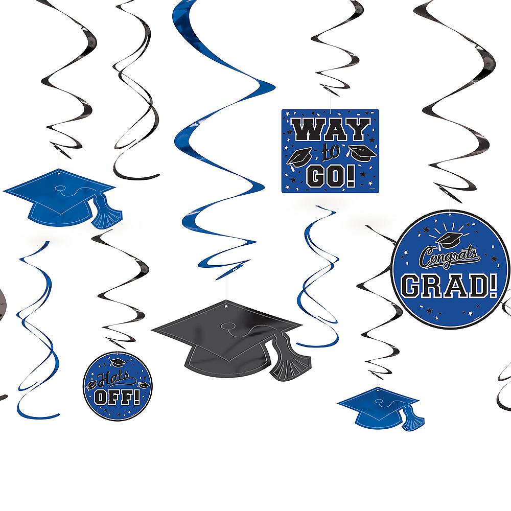 Blue Graduation Swirl Decorations 12ct Image #1