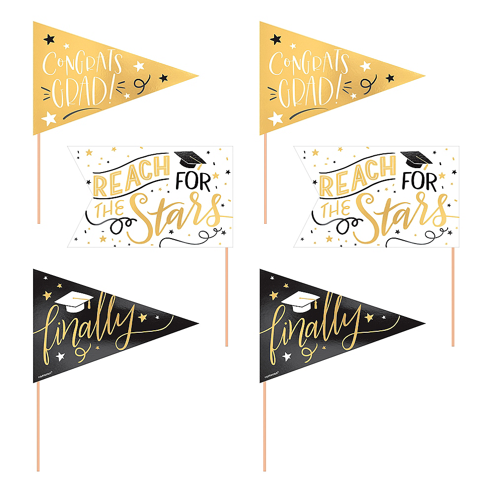 Metallic Gold Graduation Pennant Banners 6ct Image #1