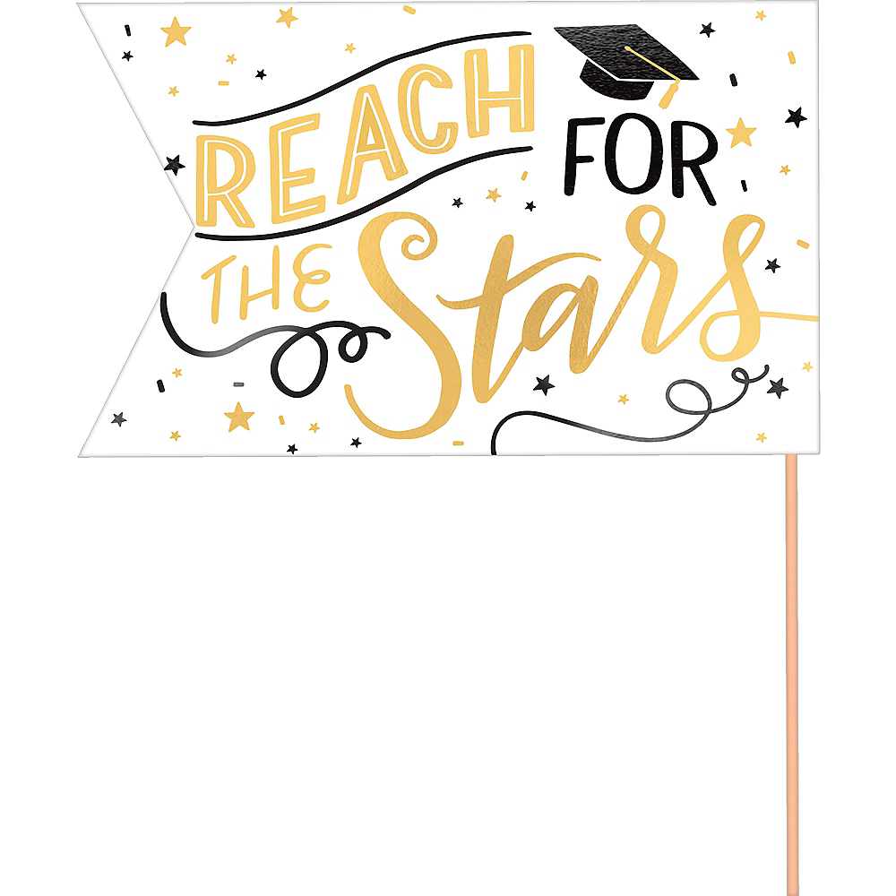 Metallic Gold Graduation Pennant Banners 6ct Image #2