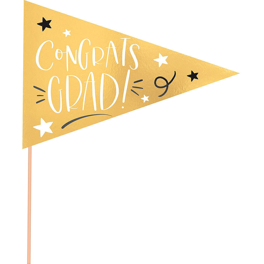 Metallic Gold Graduation Pennant Banners 6ct Image #4